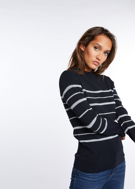 Pull manches longues raye col montant marine femme