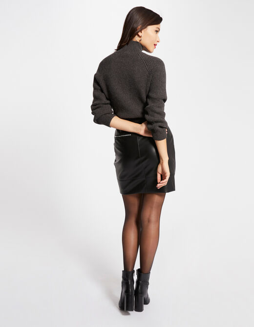 Pull manches longues boutons strass gris anthracite femme