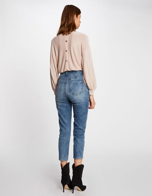 Pull manches longues avec boutons rose pale femme