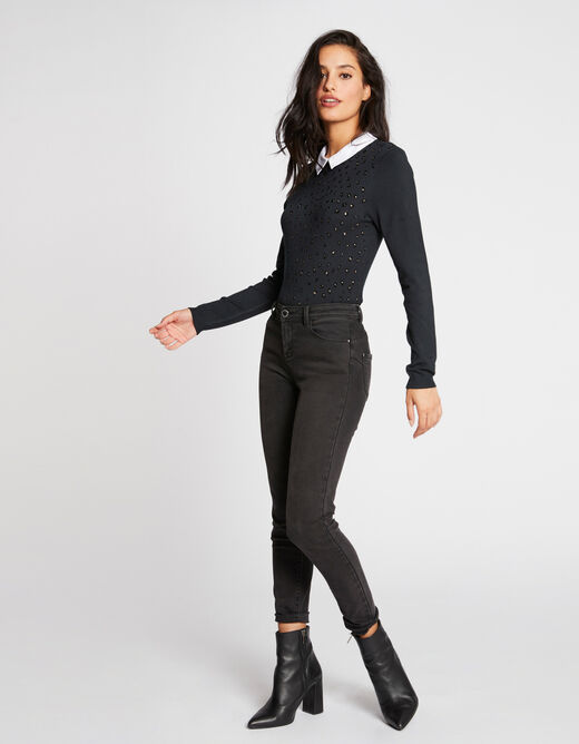Pull manches longues col chemisier vert fonce femme