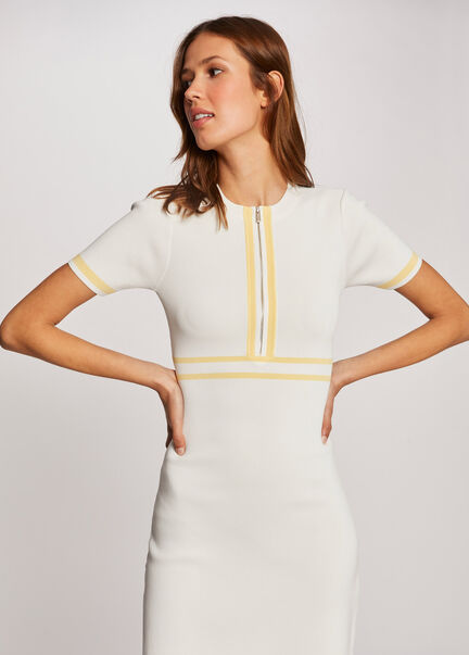 Robe pull droite a manches courtes jaune femme