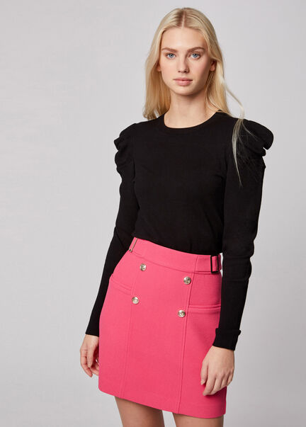Jupe droite taille haute a pont rose femme