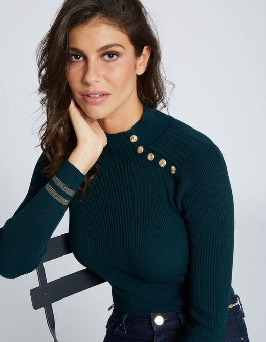 Pull manches longues 5 boutons vert fonce femme