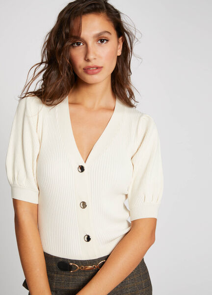 Pull manches 34 boutonne ivoire femme