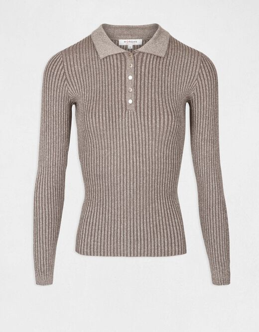 Pull manches longues maille fine boutons bronze femme