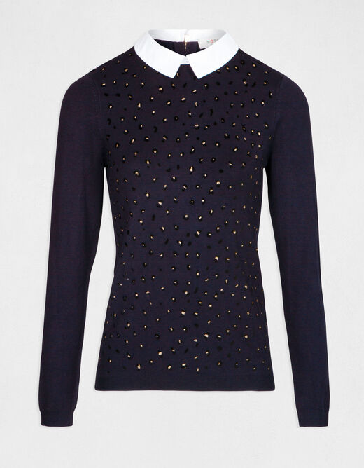 Pull manches longues col chemisier marine femme