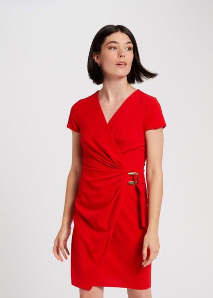 Robe droite effet portefeuille rouge femme