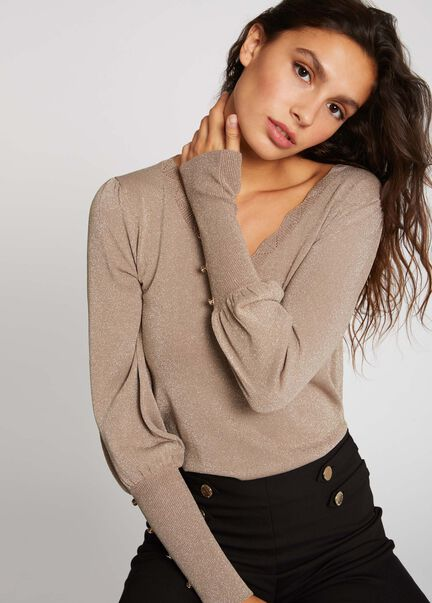 Pull manches longues avec boutons choco femme