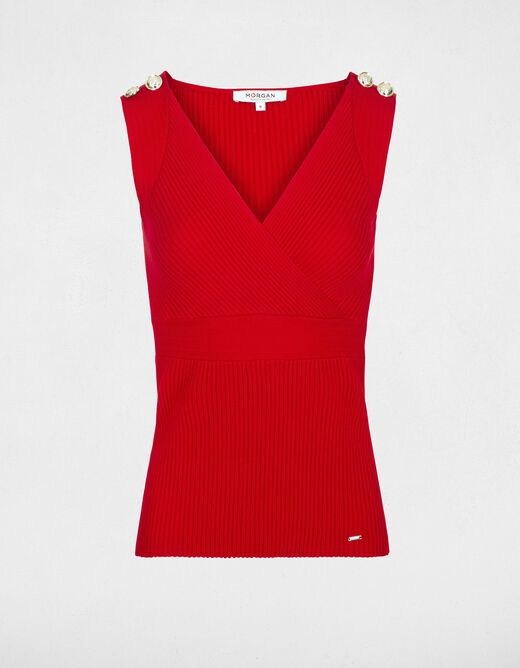 Pull maille fine col croisé boutons rouge femme