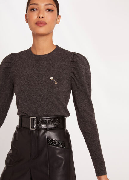 Pull manches longues a fronces gris anthracite femme