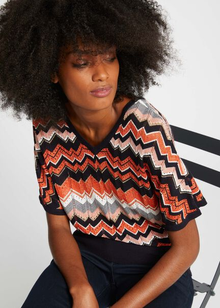 Pull manches courtes a motif chevrons marine femme
