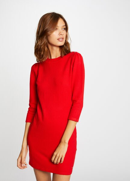 Robe pull droite manches 34 rouge femme