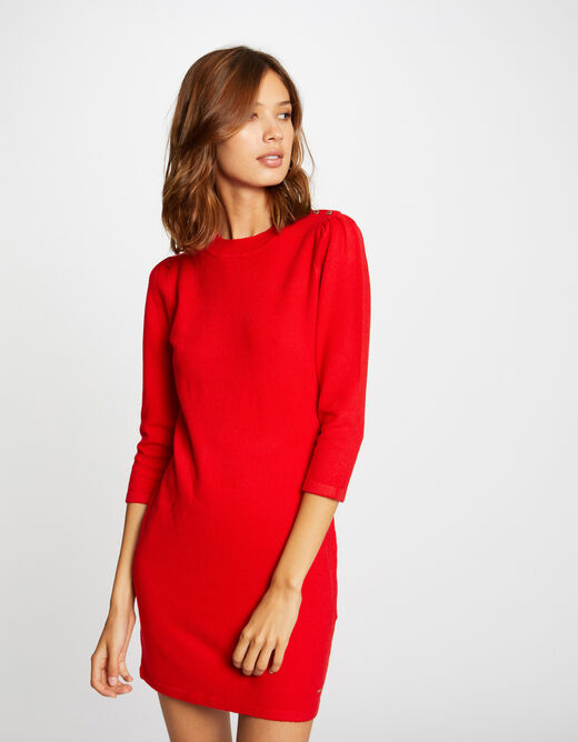 Robe pull droite manches 3/4 rouge femme