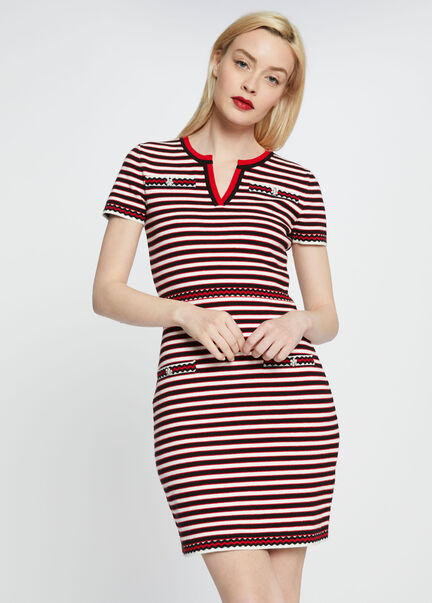 Robe courte ajustee a rayures en coton rouge femme