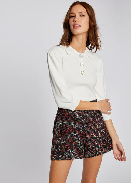 Pull manches 34 avec col a revers blanc femme