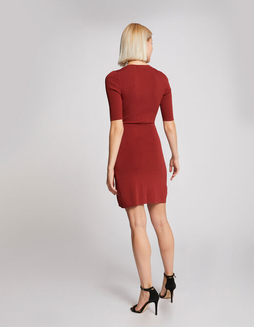 Robe pull droite effet portefeuille rouge vin femme