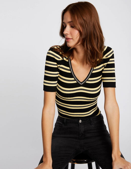 Pull manches courtes à rayures jaune femme