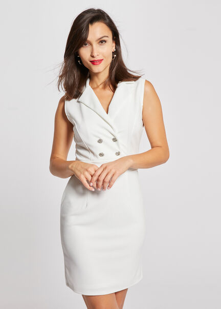 Robe droite boutons col a revers ecru femme