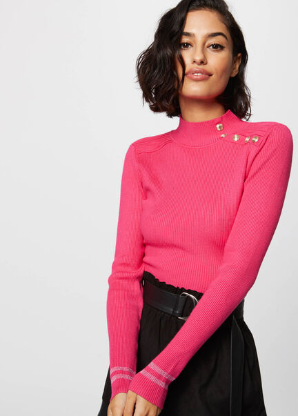 Pull manches longues 5 boutons fuchsia femme