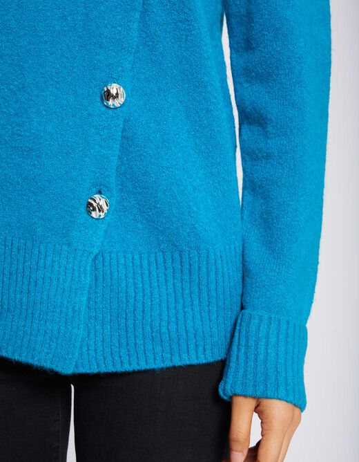 Pull col roulé manches longues bouton or turquoise femme