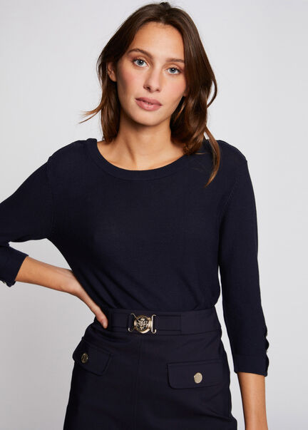 Pull manches 34 avec dos ouvert marine femme