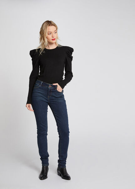 Jeans slim taille standard a poches marine femme
