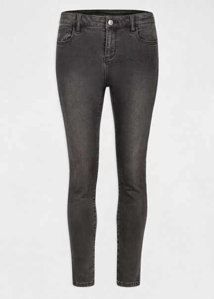 Jeans slim taille standard 78eme gris anthracite femme