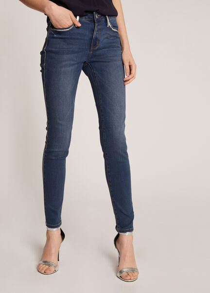 Jeans skinny avec bandes laterales jean stone femme