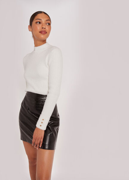 Pull manches longues maille duveteuse ecru femme