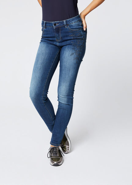 Jeans ajuste taille basse strass jean stone femme