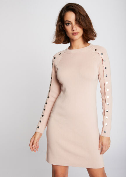 Robe droite manches boutonnees rose femme