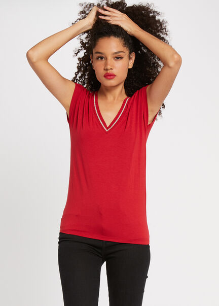 T shirt manches courtes bande metallisee rouge femme