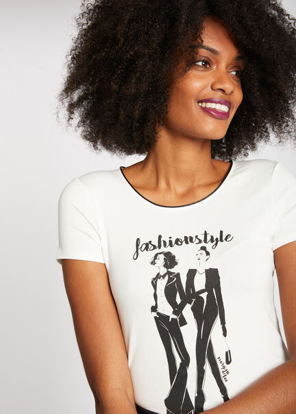 T shirt manches courtes Fashionstyle ecru femme