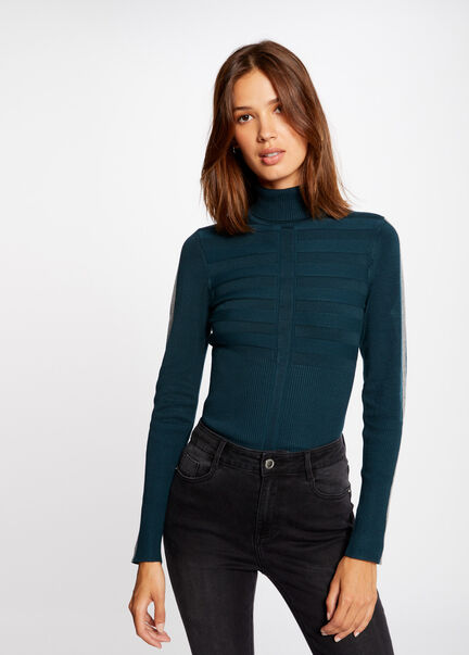 Pull manches longues bande contrastante vert fonce femme