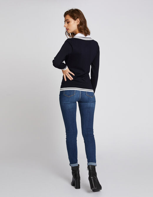 Pull manches longues avec noeud au col marine femme