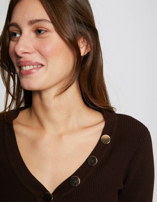 Pull manches longues boutons marron femme