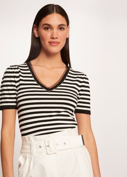 Pull manches courtes a rayures ecru femme