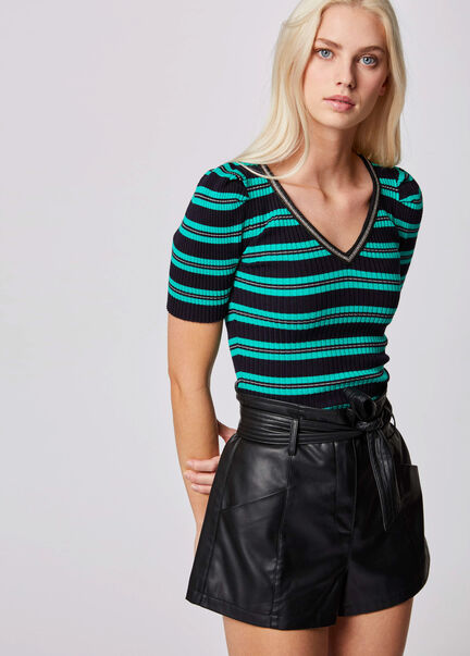 Pull manches courtes a rayures vert femme