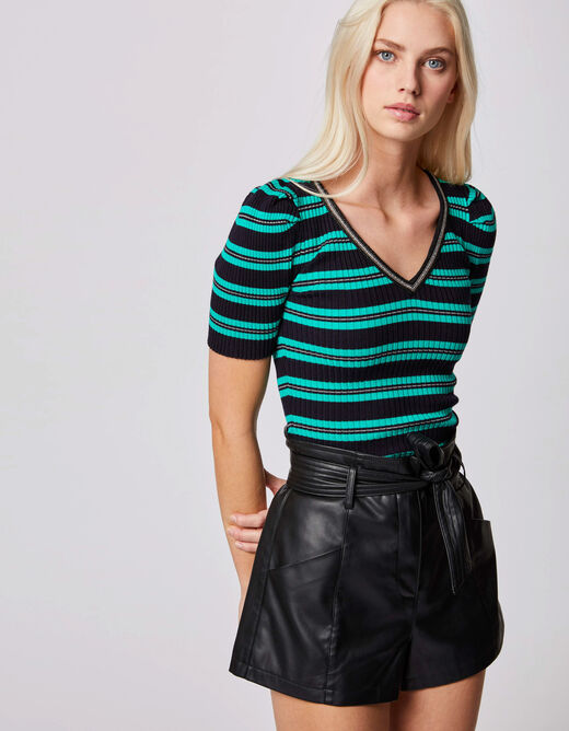 Pull manches courtes à rayures vert femme