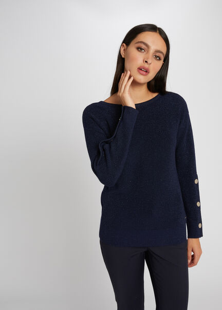 Pull manches longues avec boutons marine femme
