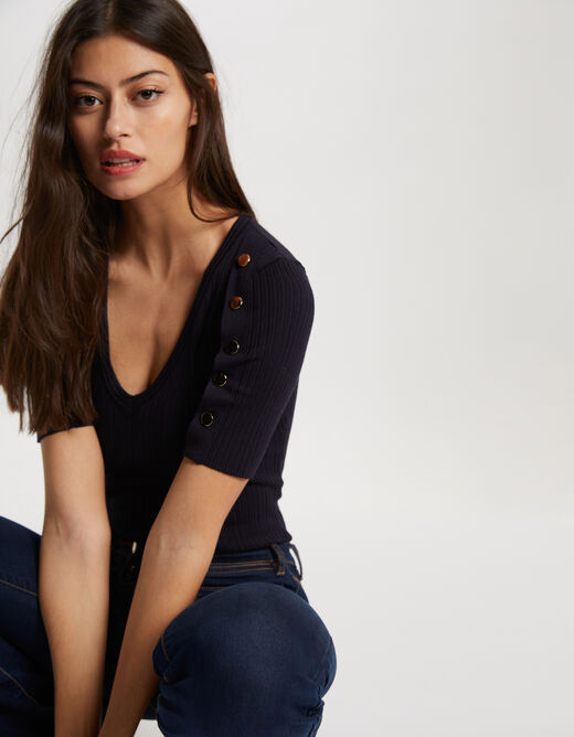 Pull manches courtes avec boutons marine femme