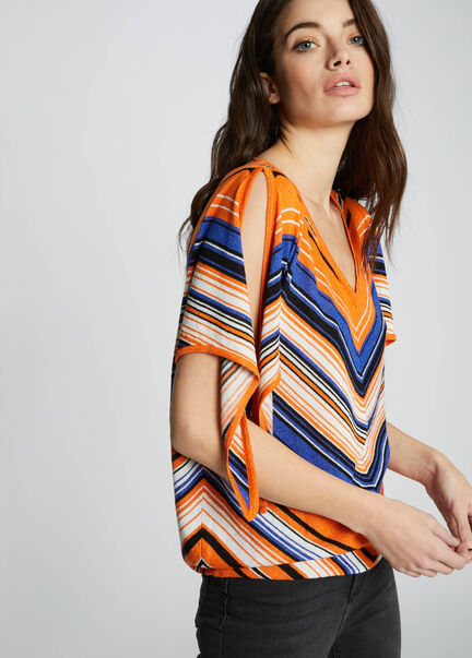 Pull fin a motif chevrons metallises orange femme