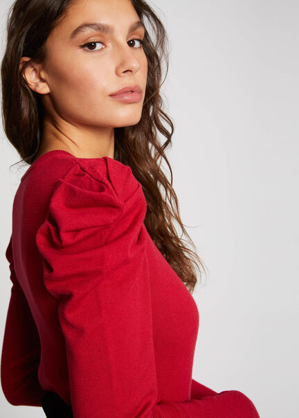 Pull manches longues a fronces rouge femm