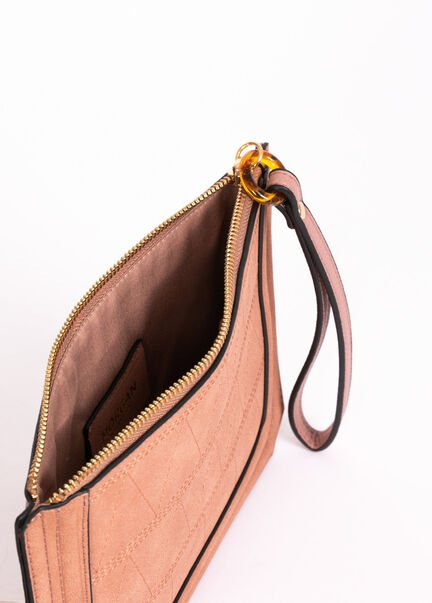 Sac pochette details surpiqures rose pale femme