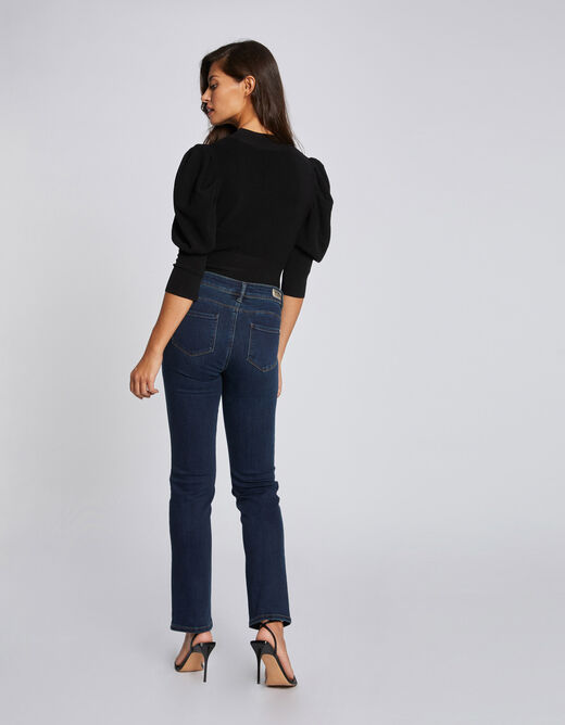 Jeans regular taille standard à poches marine femme