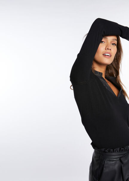 Pull manches longues col superpose noir femme