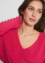 Pull manches longues avec boutons fuchsia femme