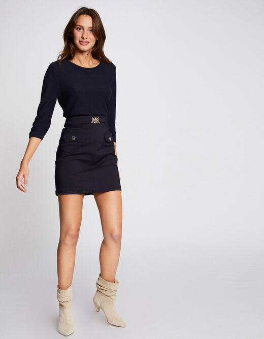 Pull manches 3/4 avec dos ouvert marine femme