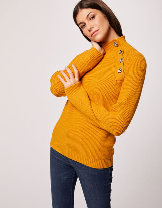 Pull manches longues boutons strass ocre femme
