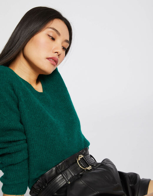 Pull manches longues maille duveteuse vert fonce femme